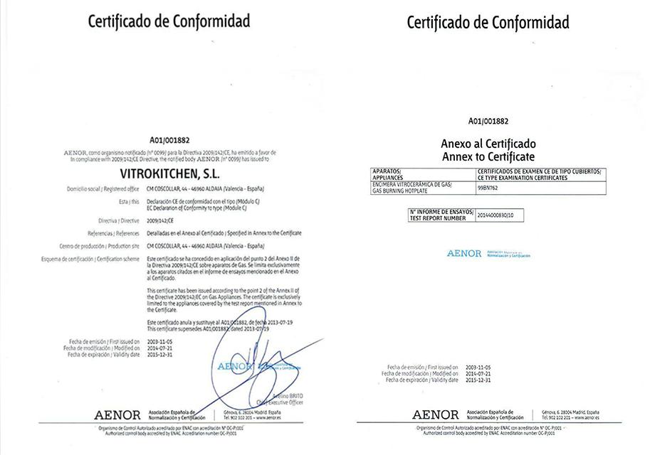 Certificado de conformidad aenor